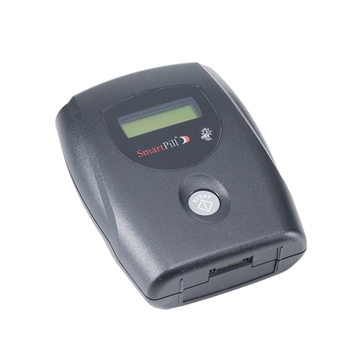 Image displays the SmartPill™ Motility Recorder, a small, gray receiver with an LCD display window and light gray button o nthe front.