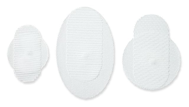 Duatene™ bilayer mesh family - medium (7 cm round), large (10 cm round), and extended (16 x 10 cm elliptical) sizes