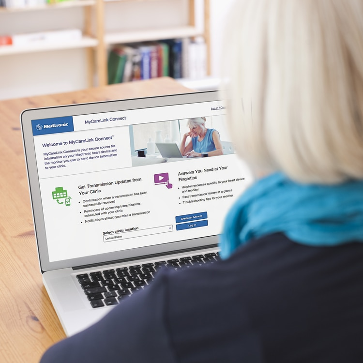 image of woman looking at MyCareLink Connect Website