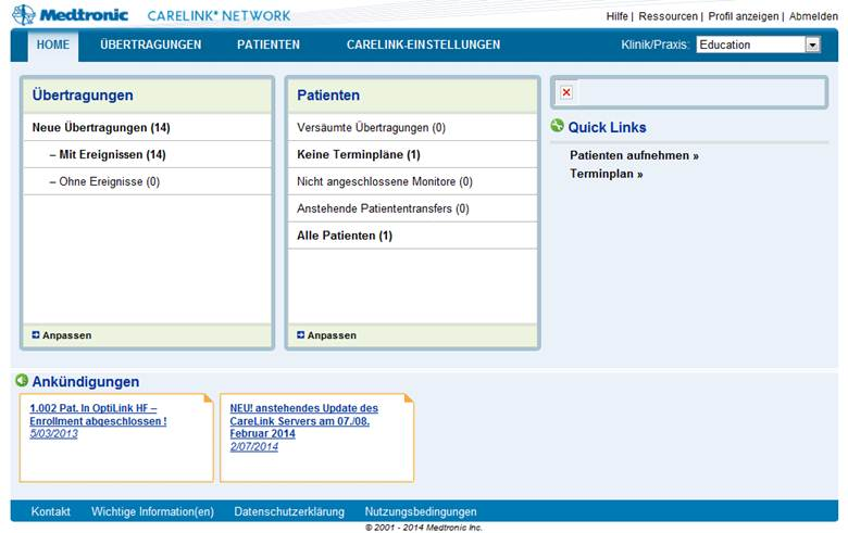Medtronic CareLink® Webseite