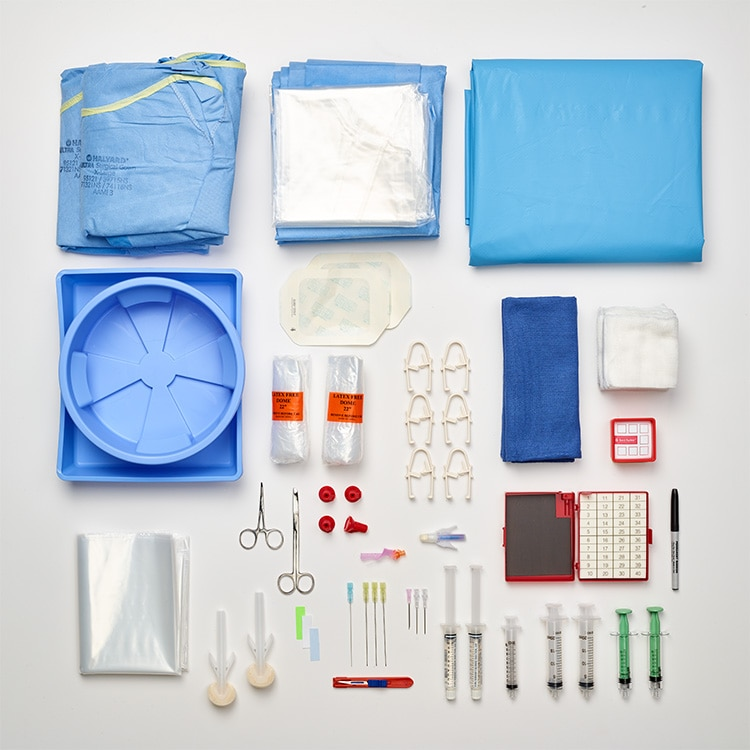 Contents of the large Medtronic Vertebral Compression Fracture (VCF) Prep Kit, shown without mallet