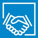 Icon of shaking hands and the word 'collaboration.'