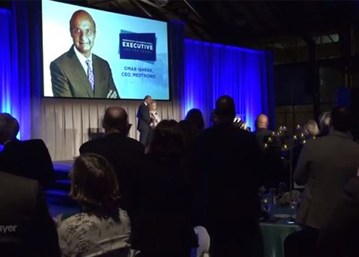 Omar Ishrak accepts Business Journal's Executive of the Year award