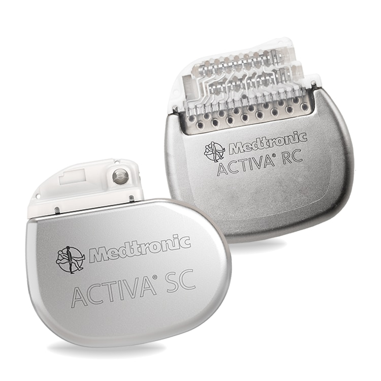 Close up of the Activa RC and SC neurostimulators on a transparent background.