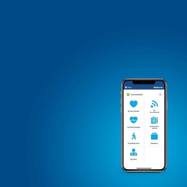 MyCareLink Heart Mobile app home screen on a smartphone on a blue background