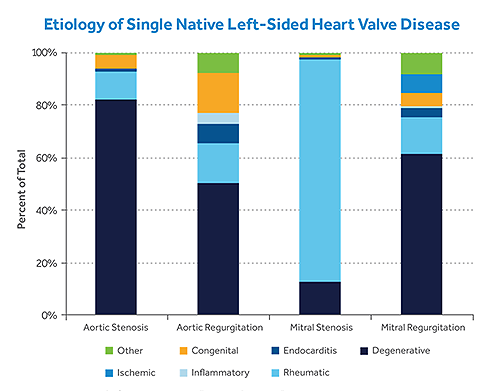 Chart illustrating the etiology of single native left-sided heart valve disease