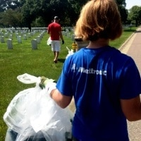 Military veterans clean-up at Ft. Snelling National Cemetery