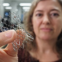 Cynthia Clague holds a cage made with nitinol