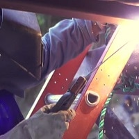 welding to repair the water line above Villalba