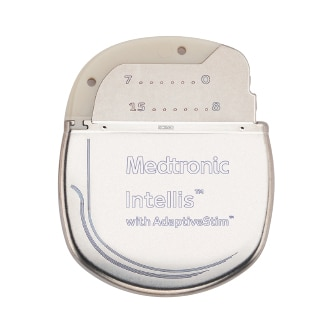 Front view of the Medtronic Intellis Device with AdaptiveStim technology, used for spinal cord stimulation therapy