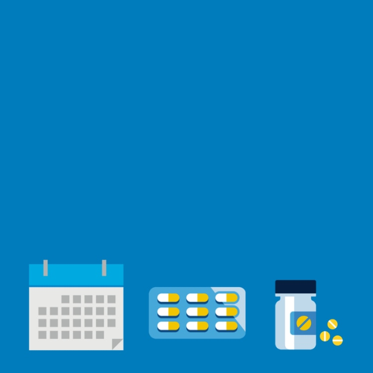 Graphic of a calendar and medication