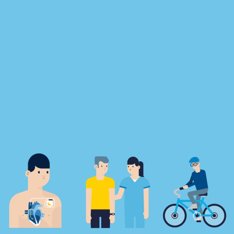 graphic of a patient cycling and having a conversation